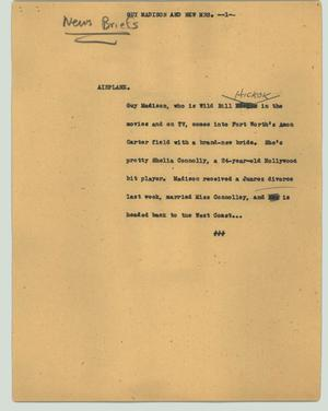 Primary view of object titled '[News Script: Guy Madison and new Mrs.]'.