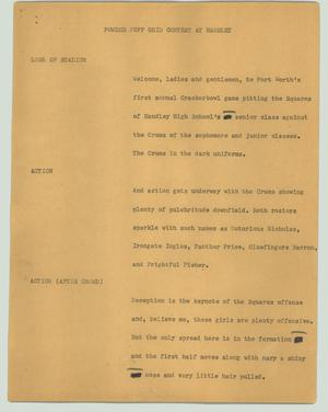 Primary view of object titled '[News Script: Powder puff grid contest at Handley]'.