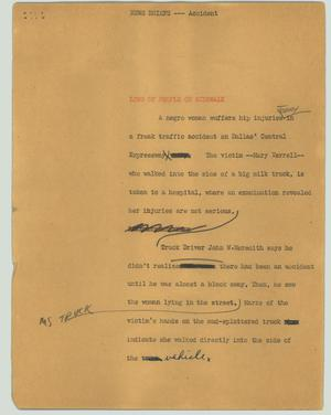 Primary view of object titled '[News Script: News briefs --- accident]'.
