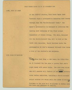 Primary view of object titled '[News Script: Fort Worth Mayor is do-it-yourself fan]'.