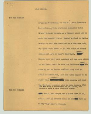 Primary view of object titled '[News Script: Stan Musial]'.