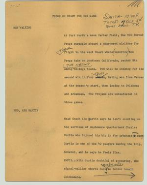 Primary view of object titled '[News Script: Frogs on coast for USC game]'.