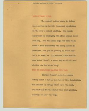 Primary view of object titled '[News Script: Dallas rounds up stray animals]'.