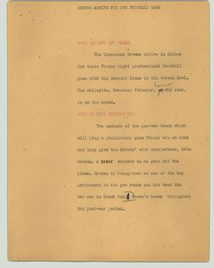 Primary view of object titled '[News Script: Browns arrive for pro football game]'.