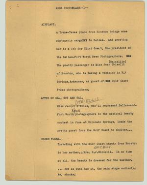 Primary view of object titled '[News Script: Miss Photoflash]'.