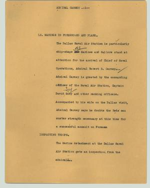 Primary view of object titled '[News Script: Admiral Carney]'.