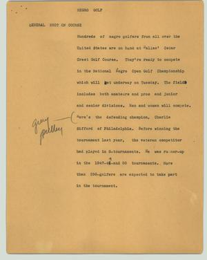 Primary view of object titled '[News Script: Negro golf]'.