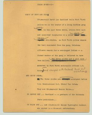 Primary view of object titled '[News Script: Crime spree]'.