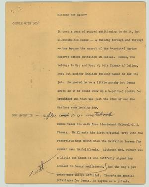 Primary view of object titled '[News Script: Marines get mascot]'.