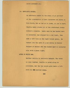 Primary view of object titled '[News Script: Minor accident]'.