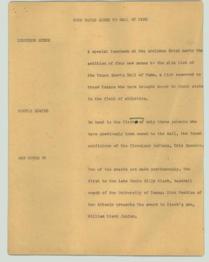 Primary view of object titled '[News Script: Four names added to hall of fame]'.