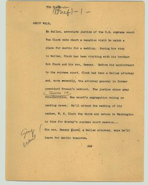 Primary view of object titled '[News Script: Tom Clark]'.