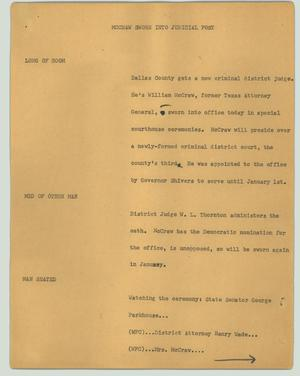 Primary view of object titled '[News Script: McCraw sworn into judicial post]'.