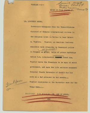 Primary view of object titled '[News Script: Vogeler]'.