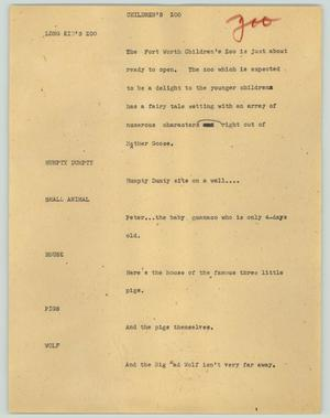 Primary view of object titled '[News Script: Children's zoo]'.
