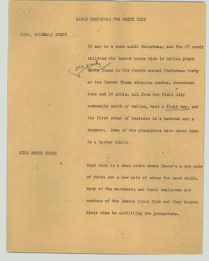 Primary view of object titled '[News Script: Early Christmas for needy kids]'.