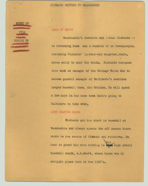 Primary view of object titled '[News Script: Richards returns to Waxahachie]'.
