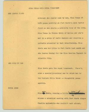 Primary view of object titled '[News Script: Miss Texas gets royal treatment]'.