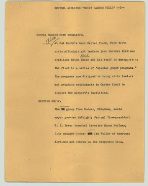 "Primary view of object titled '[News Script: Central Airlines ""Boost Carter Field""]'."