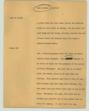 Primary view of object titled '[News Script: News briefs -- airport]'.