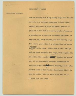 Primary view of object titled '[News Script: Wakely]'.