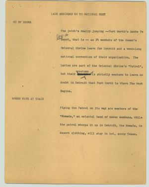 Primary view of object titled '[News Script: Lady Shriners go to national meet]'.