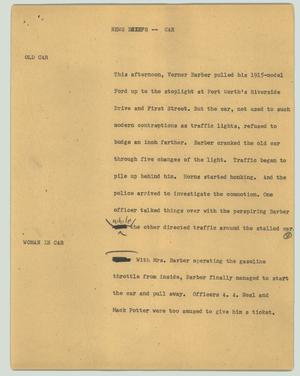 Primary view of object titled '[News Script: Car]'.