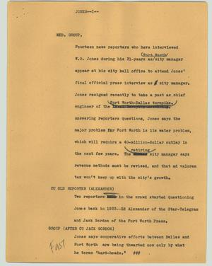 Primary view of object titled '[News Script: Jones]'.