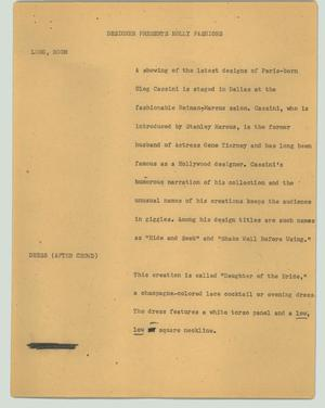 Primary view of object titled '[News Script: Designer presents holly fashions]'.