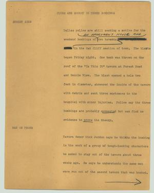 Primary view of object titled '[News Script: Clues are sought in three bombings]'.