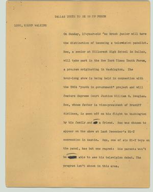 Primary view of object titled '[News Script: Dallas youth to be on TV forum]'.