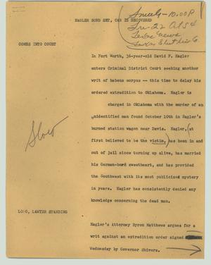 Primary view of object titled '[News Script: Hagler bond set, car is recovered]'.