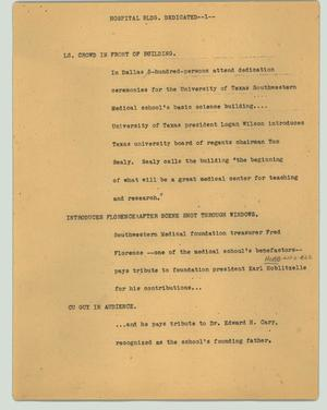 Primary view of object titled '[News Script: Hospital bldg. dedicated]'.