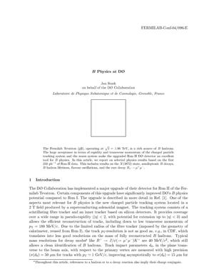 Primary view of object titled 'B Physics at D0'.