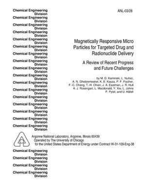Primary view of object titled 'Magnetically responsive microparticles for targeted drug and radionuclide delivery.'.