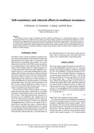Primary view of object titled 'Self-consistency and coherent effects in nonlinear resonances'.