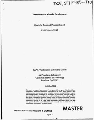 Primary view of object titled 'Thermoelectric material development. Quarterly technical progress report, January 1, 1995--March 31, 1995'.