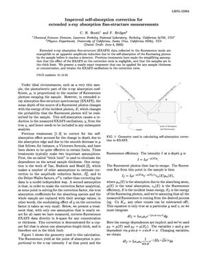 Primary view of object titled 'Improved self-absorption correction for extended x-ray absorption fine-structure measurements'.