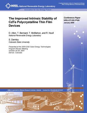 Primary view of object titled 'Improved Intrinsic Stability of CdTe Polycrystalline Thin Film Devices'.