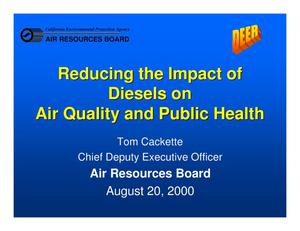 Primary view of object titled 'Reducing the Impact of Diesels on Air Quality and Public Health'.