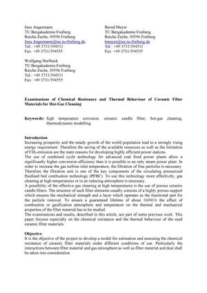 Primary view of object titled 'Examinations of Chemical Resistance and Thermal Behaviour of Ceramic Filter Materials for Hot-Gas Cleaning'.