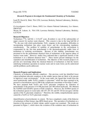Primary view of object titled 'Research Programs to Investigate the Fundamental Chemistry of Technetium'.
