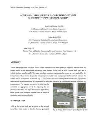 Primary view of object titled 'Applicability of Pneumatic Capsule Pipeline System to Radioactive Waste Disposal Facility'.