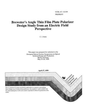 Primary view of object titled 'Brewster's angle thin film plate polarizer design study from an electric field perspective'.