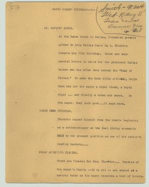 Primary view of object titled '[News Script: Mayor Moses' birthday]'.
