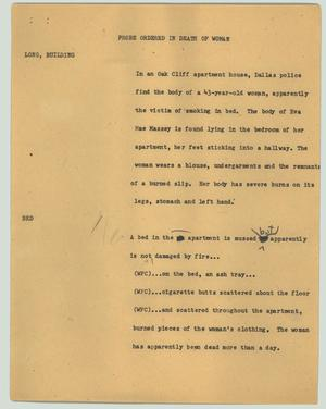 Primary view of object titled '[News Script: Probe ordered in death of woman]'.
