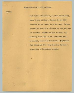 Primary view of object titled '[News Script: Bateman sworn in as city secretary]'.