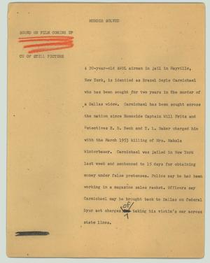 Primary view of object titled '[News Script: Murder solved]'.
