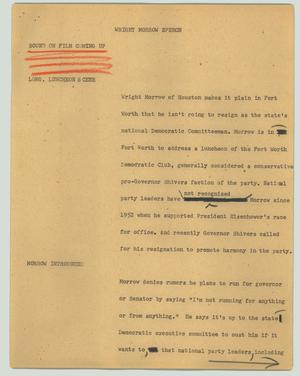 Primary view of object titled '[News Script: Wright Morrow speech]'.