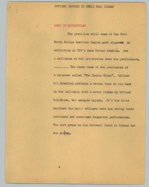 Primary view of object titled '[News Script: Officer injured in drill team mishap]'.